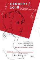 plakat informujący o wystawie wierszy i rysunków Zbigniewa Herberta